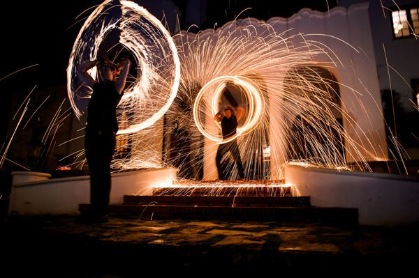 Fire dancing event entertainment for private function at a wine estate near stellenbsoch in cape town