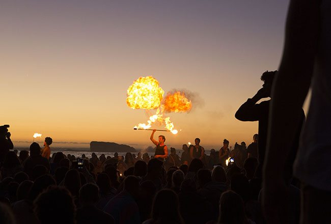 Fire dancing flow arts community beach firetribe cape town