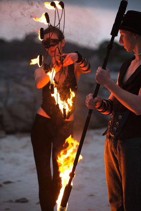 flow artists in cape town lighting their fire fans and fire staff