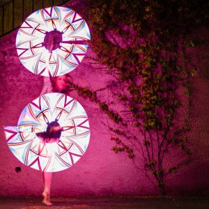 girl dancing with pixel visual led poi prop in cape town
