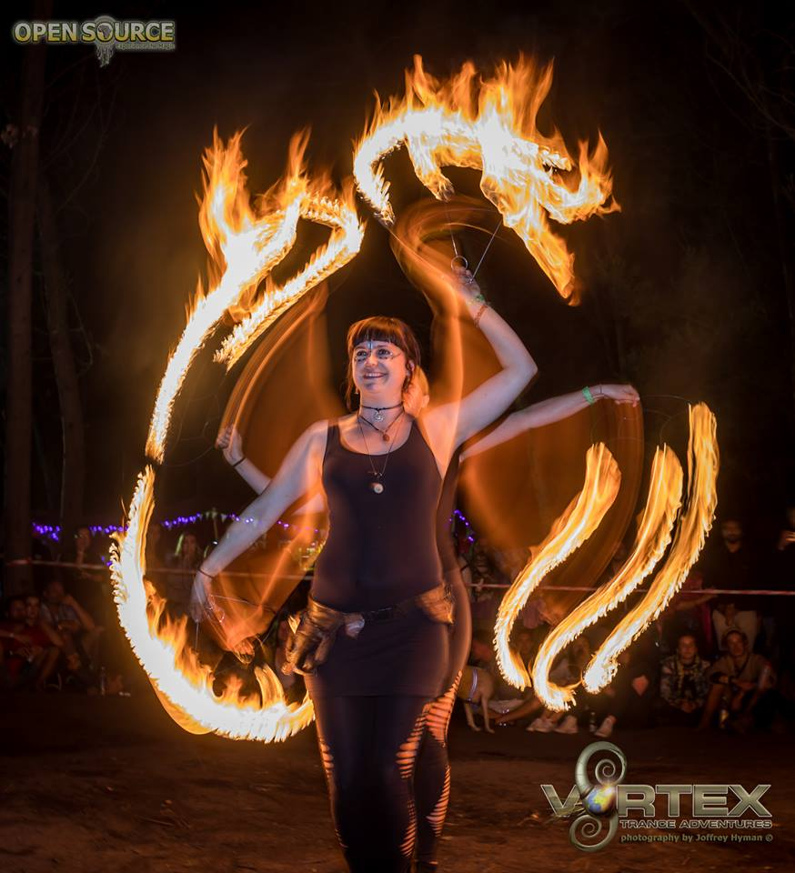 FireTribe fire dancers performing at Vortex Trance Festival in Cape Town